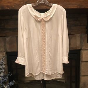 Free People Peter Pan Collar Lace Blouse • Large